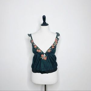 Free People Floral Embroidered V Neck Sleeveless